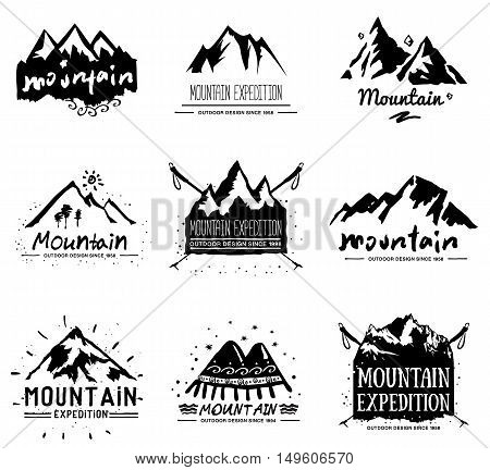 Mountain retro logo and illustration. Vintage mountain expedition label, emblem.