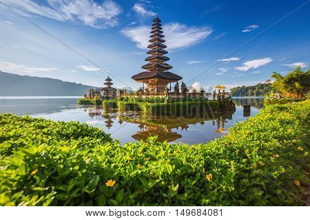 Pura Ulun Danu Bratan or Pura Beratan Temple Bali island Indonesia. Pura Ulun Danu Bratan is a major Shivaite and water temple on Bali island Indonesia.