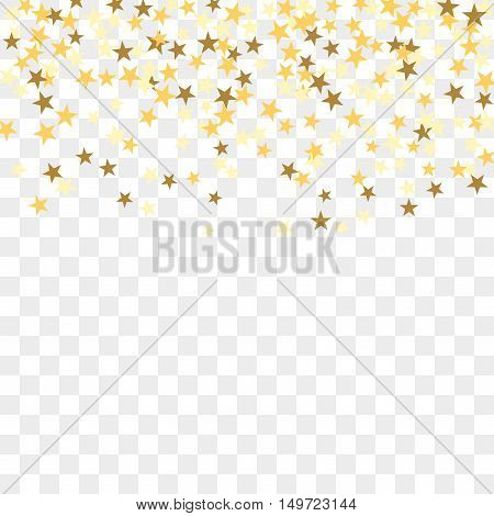 Gold star confetti celebration isolated on transparent background. Falling golden abstract decoration for party birthday celebrate anniversary or event festive. Festival decor. Vector illustration