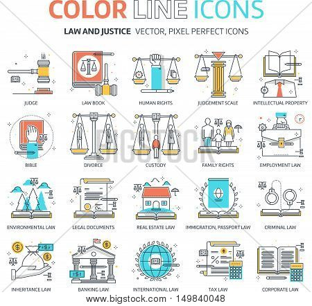 Color line law illustrations icons backgrounds and graphics. The illustration is colorful flat vector pixel perfect suitable for web and print. It is linear stokes and fills. stock photo
