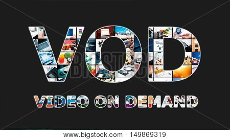 Video on demand VOD service in Television concept stock photo