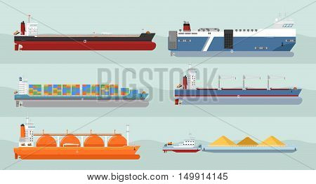 Set of cargo ships vectors. Flat design. Ferry, container ships, freighter, bulk, gas carriers, tugboat ships illustrations. Transatlantic carriage by merchant navy. For transport ships company ad, infographics. Isolated ships. Different type of ships. stock photo