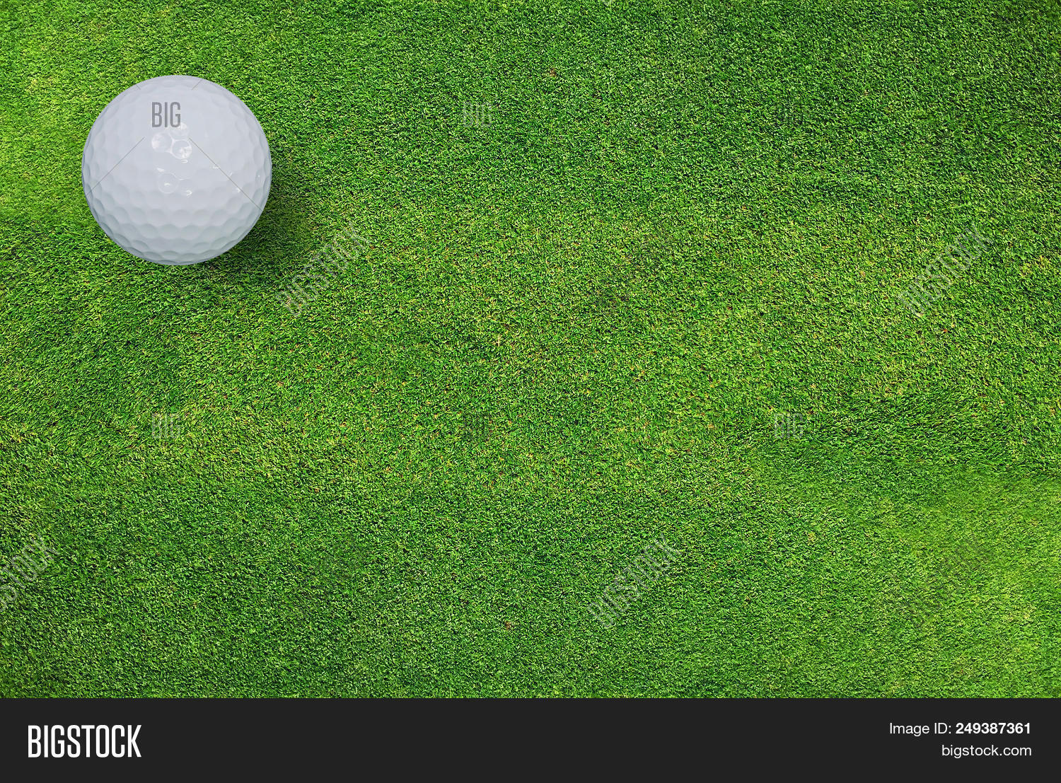 Golf Ball On Green Grass Of Golf Course. Golf Sport Background.