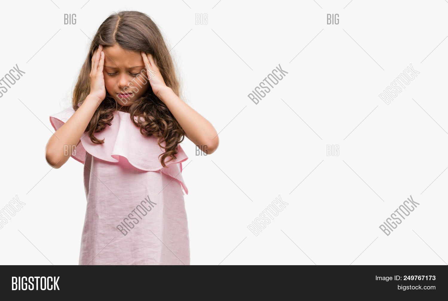 3b68112f8d0 🔥 Brunette hispanic girl wearing pink dress with hand on head for ...