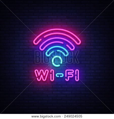 Wifi neon sign vector. Wifi symbol neon glowing letters shining, Light Banner, neon text. Vector illustration. Billboard. stock photo