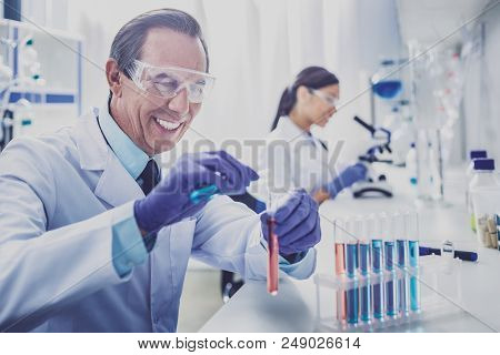 Beaming bioengineer. Beaming elderly bioengineer wearing blue gloves feeling amazing while enjoying his work stock photo