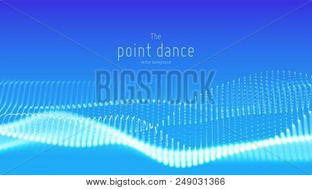 Vector Abstract Blue Particle Wave, Points Array, Shallow Depth Of Field. Futuristic Illustration. T