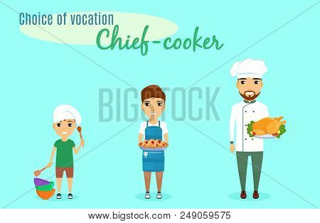 Choice of vocation. Profession cook. The little boy chose the profession of cook since childhood. A little boy holds a large spoon in his hand. Schoolboy with pie. A man is a professional cook. In flat style on blue background. Cartoon. stock photo