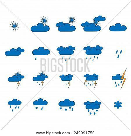 Weather icon set. Meteorology symbol weather forecast. Isolated icons prognosis weather. Design element. Colorful symbol of sky. Template for weather forecast. Flat vector image. Vector illustration stock photo