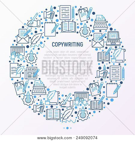 Copywriting concept in circle with thin line icons: letter, e-mail, book, blogging, hand with pen, feather, typewriter, article, seo. Modern vector illustration for web page template, banner. stock photo