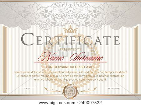 White certificate vertical in the Royal style Vintage, Rococo, Baroque, glamour. With pearlescent glow and gold. Decorated with classic floral ornament, columns, flouris, crown stock photo