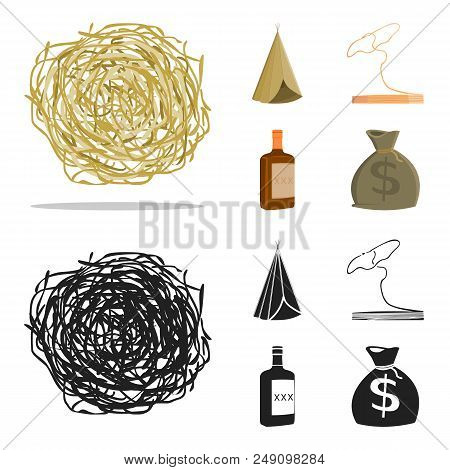 Roll-field, Indian wigwam, lasso, whiskey bottle. Wild West set collection icons in cartoon, black style vector symbol stock illustration . stock photo