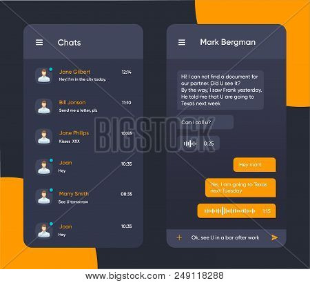 Vector phone chat interface. Message boxes. Speech bubble interface. UI UX interface in flat style for mobile application. EPS 10 stock photo