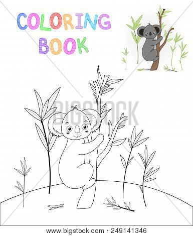 children s coloring book with cartoon animals. Educational tasks for preschool children nice Koala stock photo