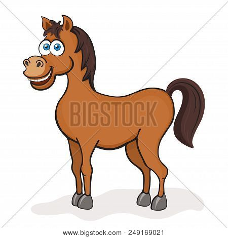 Horse cartoon drawing, vector illustration. Funny cute painted brown horse with blue eyes isolated on white background, animated character, drawn cheerful animal, children print stock photo
