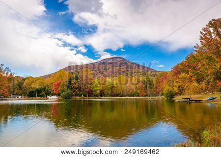 Yonah Mountain, Georgia, USA autumn landscape and lake.