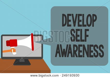 Word writing text Develop Self Awareness. Business concept for increase conscious knowledge of own character Alarming convey script announcement message warning signals sound speakers stock photo