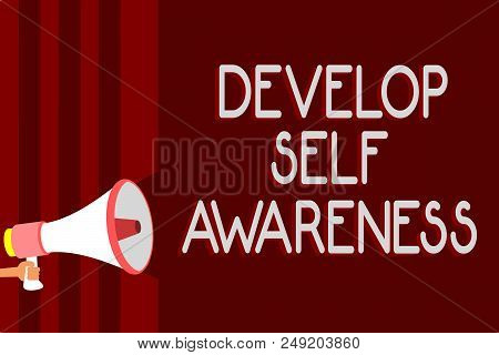 Handwriting text Develop Self Awareness. Concept meaning increase conscious knowledge of own character Warning sound symbols speaker alarming announcements indication idea stock photo