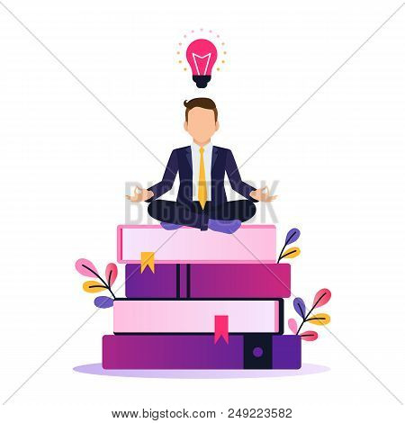 Vector ultra violet gradient illustration of creativity in Internet. Bright colorful splash with businessman working with laptop. Creative process and brainstorming. stock photo