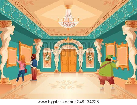 Vector cartoon museum exhibition with pictures and visitors in royal ballroom with atlas columns. Art gallery with sculptures, excursion. Ancient hall interior, exposition background stock photo