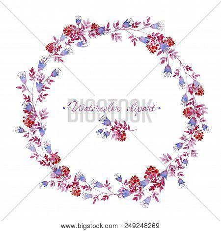 Watercolor floral rounded wreath and small floral bouquet with rowan branches. Clipart consist of flowers, leaves, berries and branches. stock photo