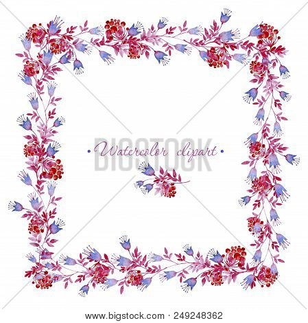 Watercolor floral square frame and small floral bouquet with rowan branches. Clipart consist of flowers, leaves, berries and branches. stock photo