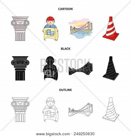 Column, master with drawing, bridge, index cone. Architecture set collection icons in cartoon, black, outline style vector symbol stock illustration . stock photo