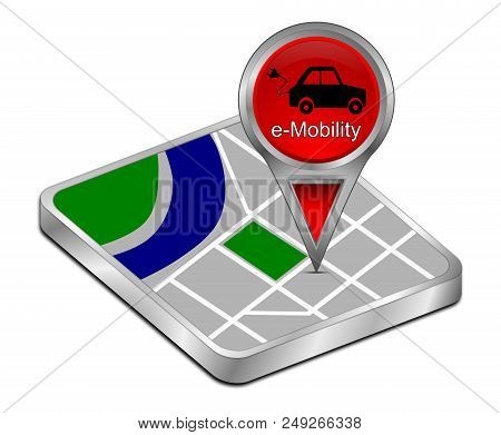 red Map pointer with e-Mobility - 3D illustration stock photo
