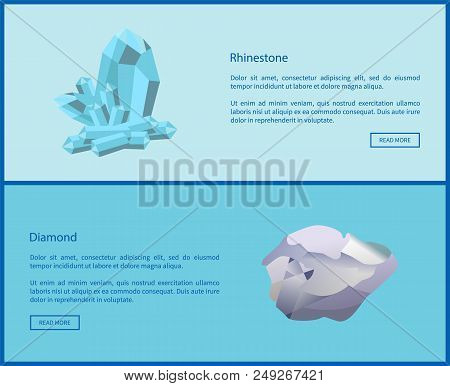 Rhinestone and diamond online web posters set, cubic crystals structure diamond lattice. Expensive precious gemstones vector illustration online pages stock photo