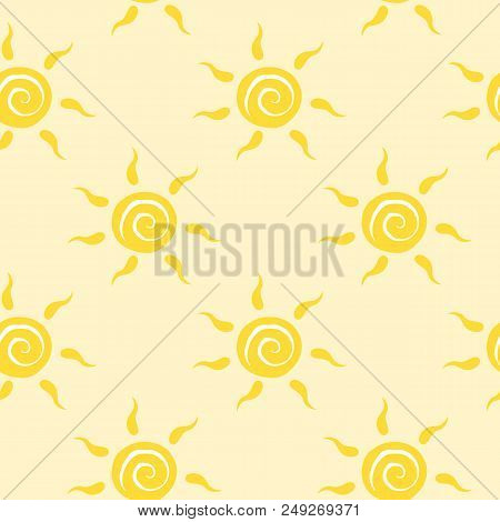 Vector seamless pattern with yellow sun with ether sign. Summer background. Cute colorful wallpaper for yoga club. For textile and fabric, cover, print on clothes. stock photo