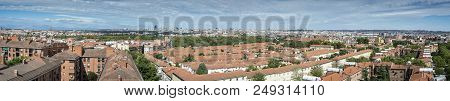 Views of Madrid City, Spain, from Carabanchel district. It is in the south western suburbs of Madrid stock photo