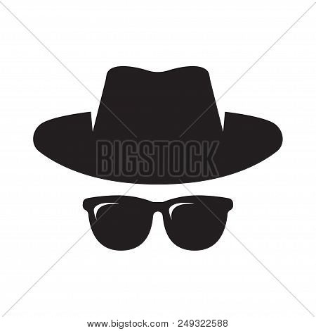 Anonymous. Spy, Gangster, Detective, Agent. Hat and glasses Vector illustration Isolated on White Background stock photo