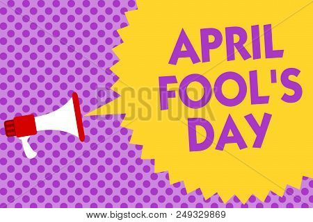 Writing note showing April Fool s is Day. Business photo showcasing Practical jokes humor pranks Celebration funny foolish Multiline text purple bubble pattern design announce messages ideas stock photo