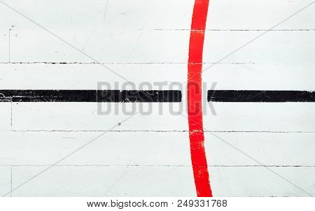 Detail from an old style gymnasium with basketball court lines stock photo