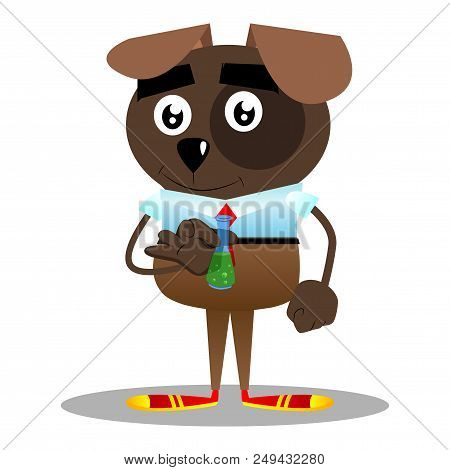 Cartoon illustrated business dog holding a test tube. stock photo