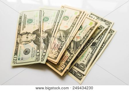 US Dollars Closeup Concept, American Dollars Cash Money, Dollar Banknotes, Dollar Bills, Dollars Money, Close-up American Dollar Banknotes, Currency of United States,  Paper Money, American Banknotes stock photo