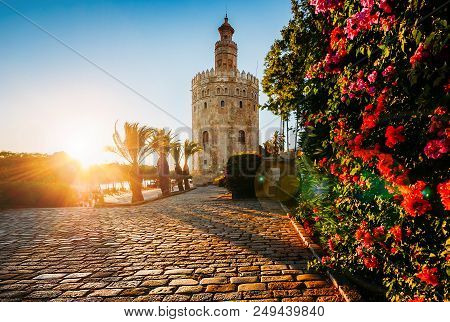 Torre del Oro, meaning Golden Tower, in Seville, Spain is an Albarrana Tower located on the left bank of the Guadalquivir River stock photo
