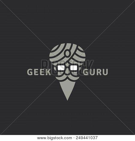 Geek guru logo template design on a dark background. Vector illustration. stock photo