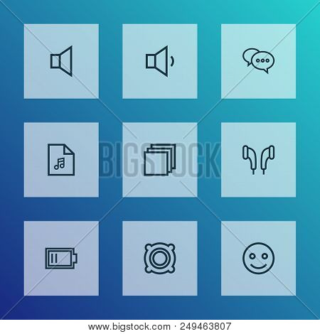 Media icons line style set with emoji, earmuff, low battery and other smile elements. Isolated  illustration media icons. stock photo