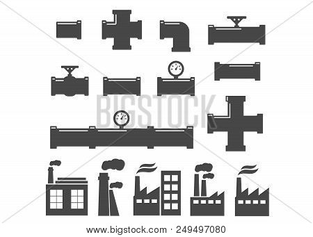Set of black isolated plumbing pipes icon. Pipe fittings vector icons set stock photo