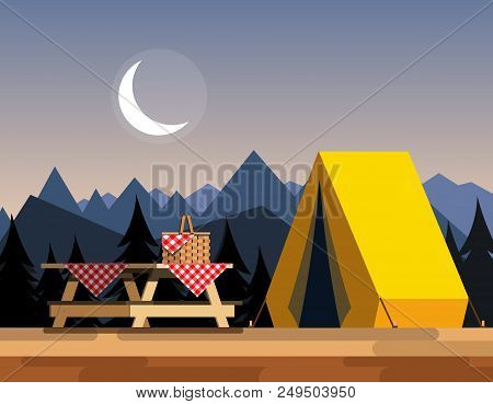 Recreation In Nature. Picnic. Picnic In The Mountains. Camping In The Mountains. The Concept Of Camp