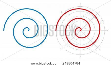 Archimedean spiral on white background. Three turnings of one arm of an arithmetic spiral, rotating with constant angular velocity. Red spiral is represented on a polar graph. Illustration. Vector. stock photo