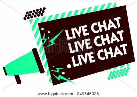 Word writing text Live Chat Live Chat Live Chat. Business concept for talking with people friends relatives online Megaphone loudspeaker green striped frame important message speaking loud stock photo