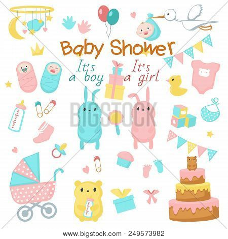 Baby shower icon set. Vector hand drawn illustration of cute newborn babies, funny pink and blue animals bunnies bears, sweets, party decorations. Baby shower invitation greeting card design elements. stock photo