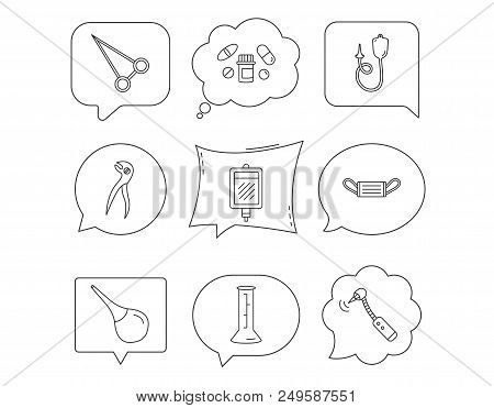 Medical mask, blood and dental pliers icons. Pills, drilling tool and clyster linear signs. Enema, lab beaker and forceps flat line icons. Linear Speech bubbles with icons set. Comic chat balloon stock photo