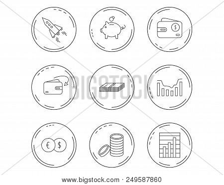 Piggy bank, cash money and startup rocket icons. Wallet, currency exchange and dollar usd linear signs. Chart, coins and dynamics icons. Linear Circles web buttons with icons. Vector stock photo