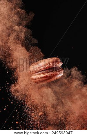 French chocolate macaron with cocoa powder against black background stock photo