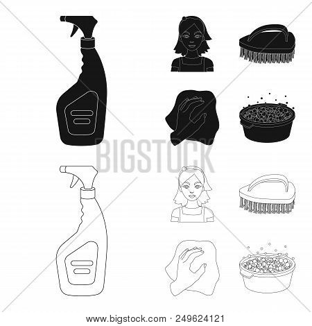 A cleaning woman, a housewife in an apron, a green brush, a hand with a rag, a wash hand basin with foam. Cleaning set collection icons in black, outline style vector symbol stock illustration . stock photo