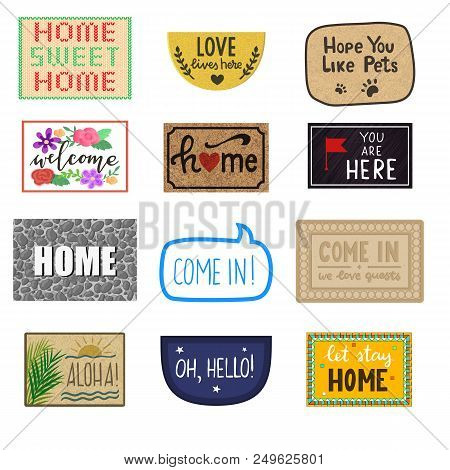 Home mat vector welcome doormat of front house entrance and doorway matting rug for visitors illustration household set of homecoming enter decoration isolated on white background. stock photo
