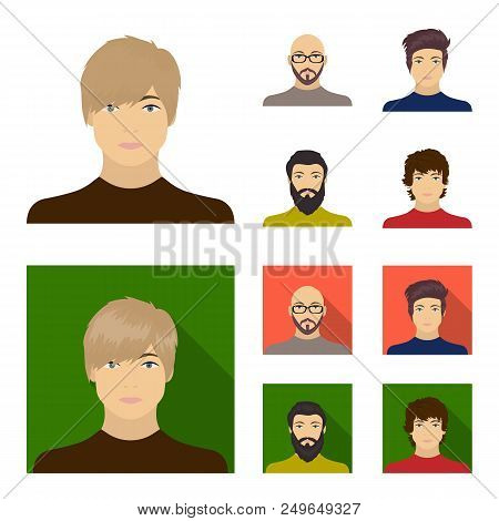 The face of a Bald man with glasses and a beard, a bearded man, the appearance of a guy with a hairdo. Face and appearance set collection icons in cartoon, flat style vector symbol stock illustration . stock photo